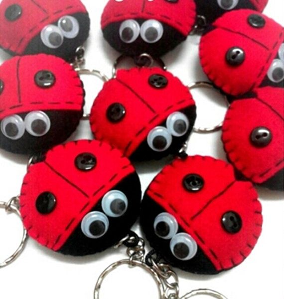 Ladybug Felt Keychain  Cute kawaii red and black bugs by JariJoget