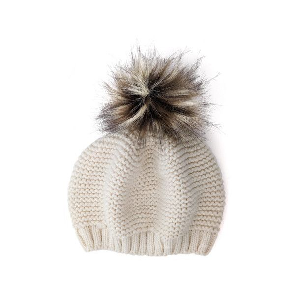 HPI Faux Fur Beret (£79) ❤ liked on Polyvore featuring accessories, hats, cream, bobble hat, beret hat, fake fur hats and faux fur hat
