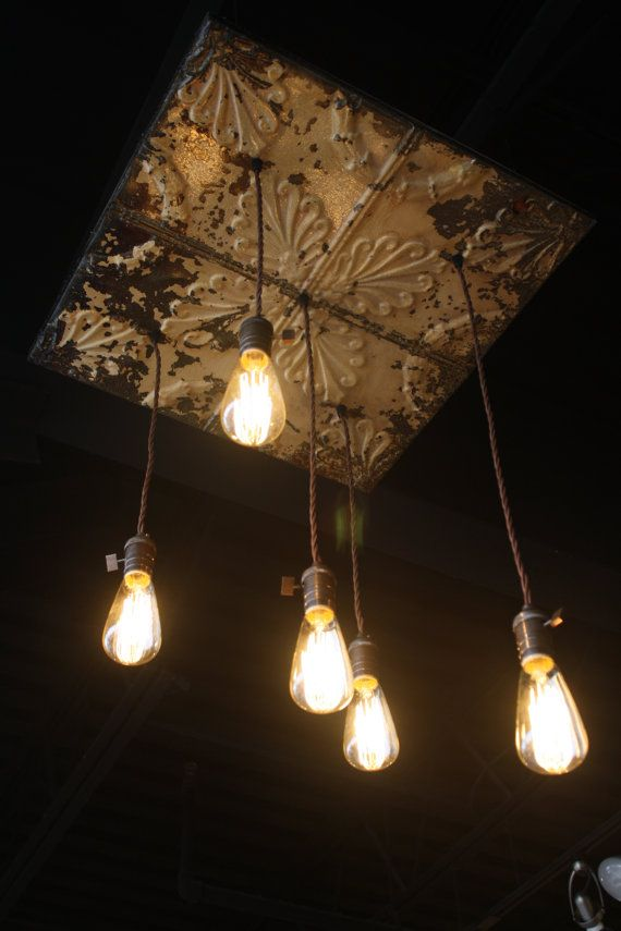Antique Tin Ceiling Chandelier with Five Edison by KooteniaDesigns, $469.99