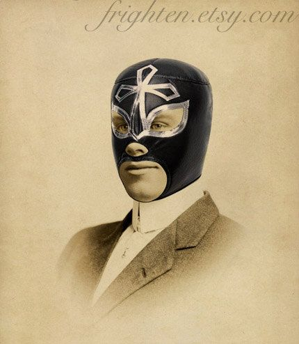 Lucha Libre Art, Mixed Media Collage Print, Portrait of a Luchador, Altered Vintage Photo, frighten via Etsy