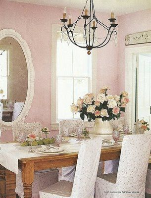 ♡ Home Pink Home ♡   pink dining room
