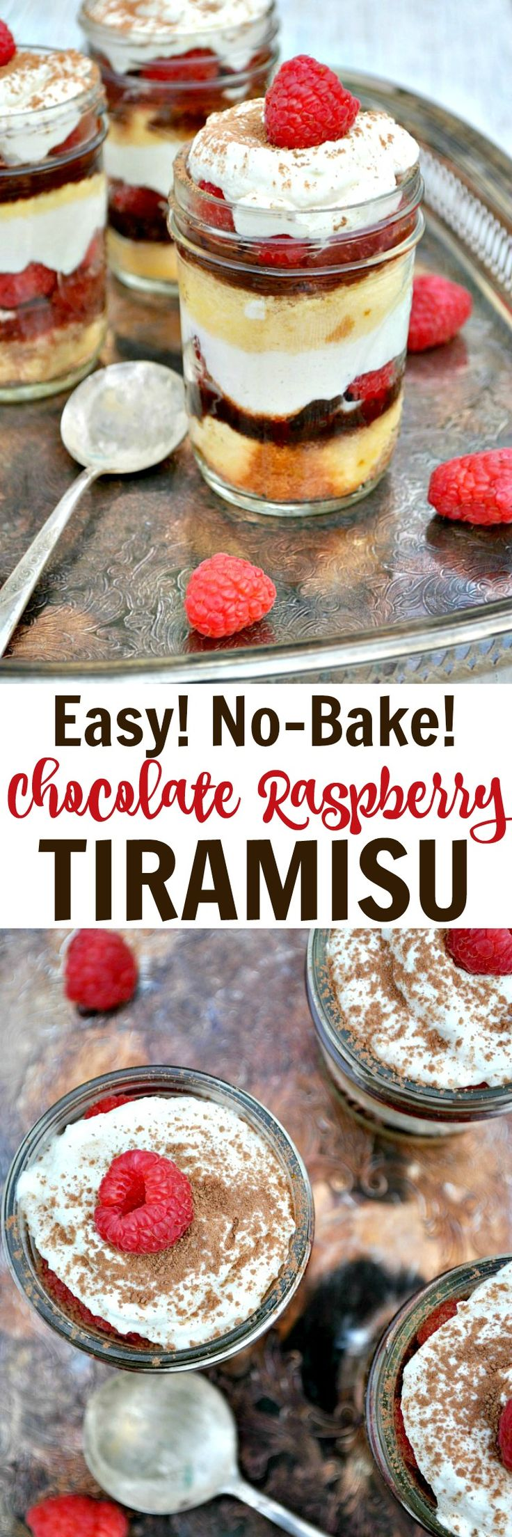 Just 15 minutes of prep for this Easy No-Bake Chocolate Raspberry Tiramisu! The perfect make-ahead dessert for Valentine's Day or other special occasions!