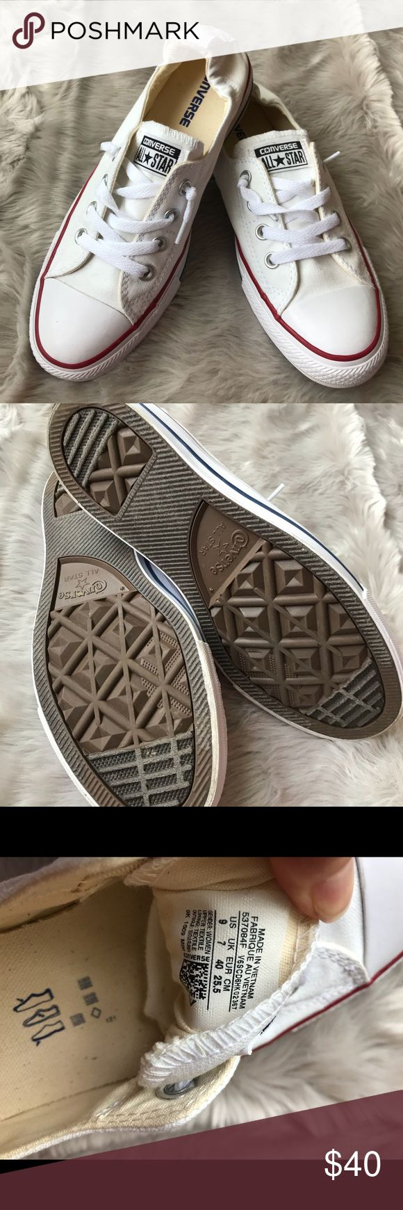 White Converse slip ons White Converse slip on's in like new condition! Converse Shoes Sneakers