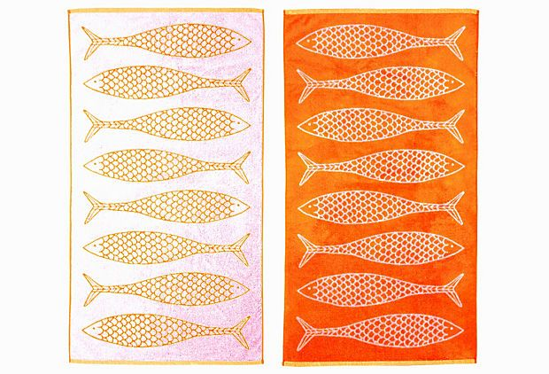 Stephen Haskell Fish Towel, Orange