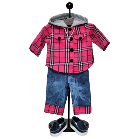 18 Inch Doll Clothes Outfit & Shoes, Farm Girl Pink Flannel Shirt, Jeans & Denim Shoes
