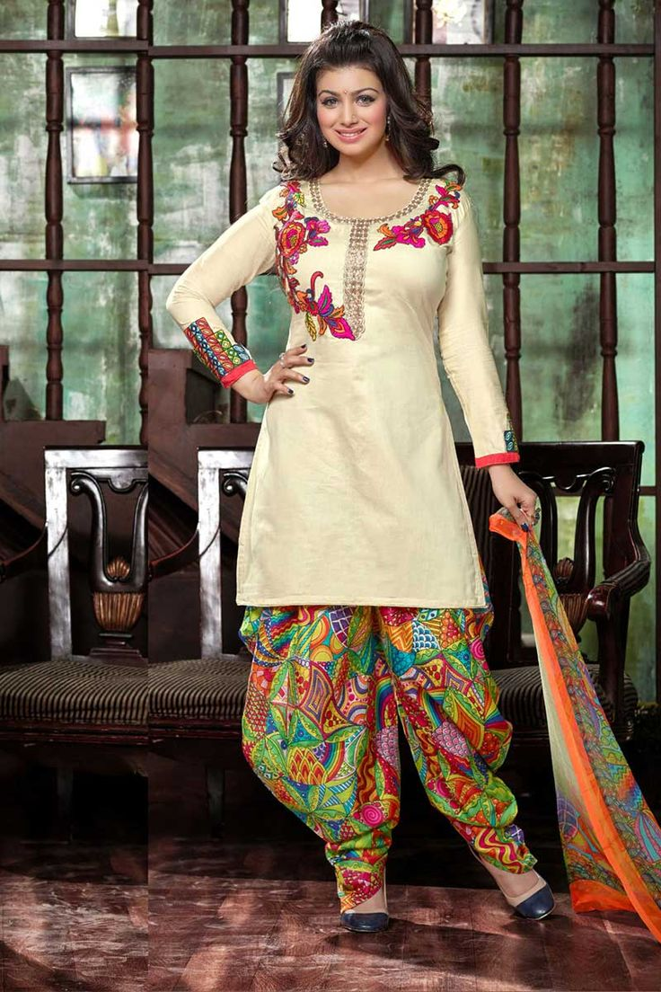 #BollywoodCollection #AyeshaTakia #Punjabisuit #Patialasalwar  Andaaz Fashion - A decent outfit collection for womens this seasons. Cream Cotton Patiala Salwar Suit with Chiffon Dupatta are embellished with Zari, resham embroidery work.  For More Details Visit Here @ http://www.andaazfashion.com.my/salwar-kameez/patiala-suits