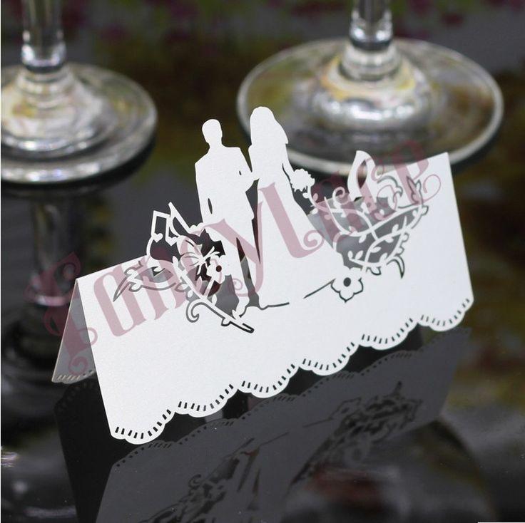 2016 nuevo Laser Cut perla papel decoración de la boda tarjetas del lugar de la novia y el novio asiento tarjetas de la tabla tarjetas invitaciones de boda 50 unids en Artículos de Fiesta de Casa y Jardín en AliExpress.com | Alibaba Group