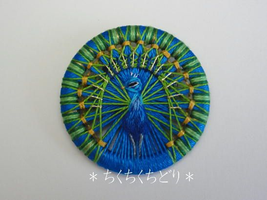 Thread button portraying a peacock. #buttonlovers