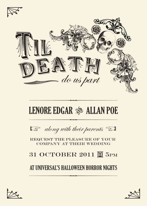 halloween themed wedding invite