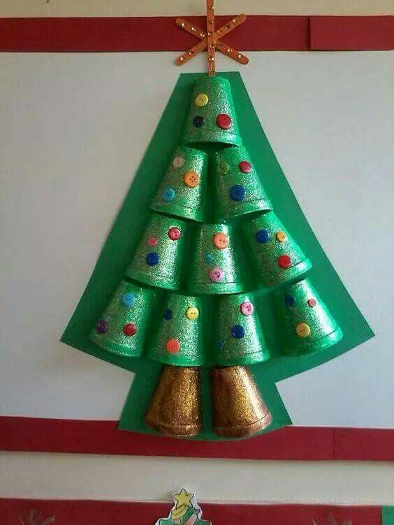 Christmas tree from cups #christmastree