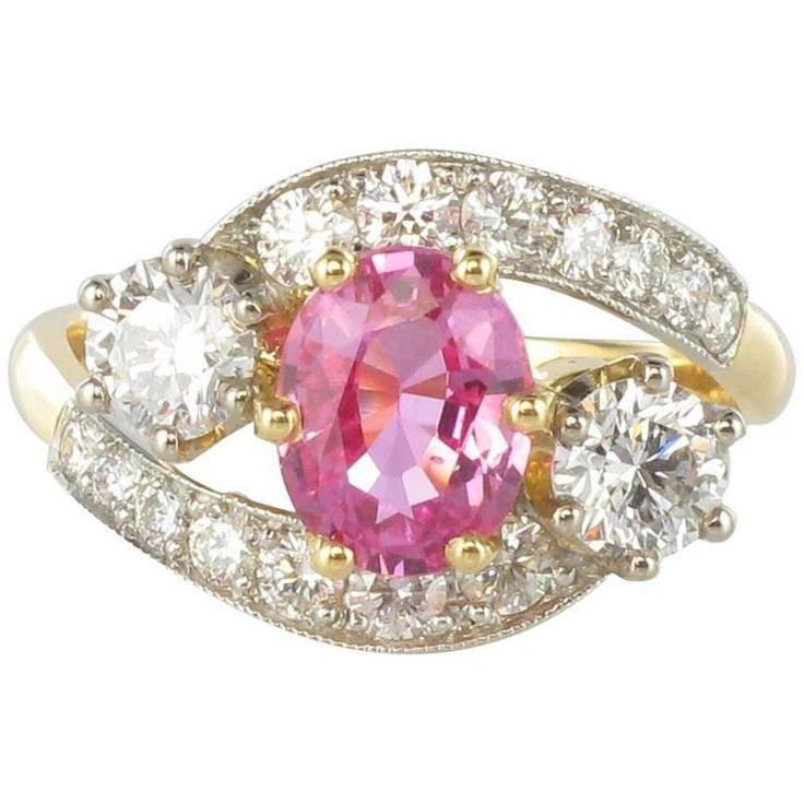 Modern 1.26 Carat Pink Sapphire 1.07 Carat Diamond Platinum Gold Ring
