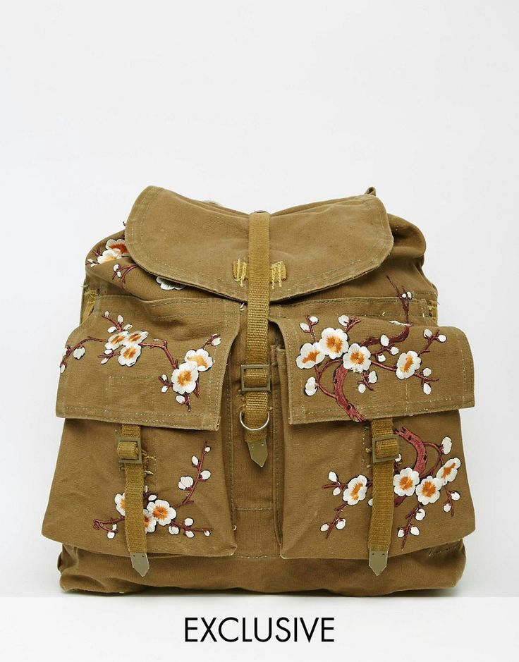 Image 1 ofReclaimed Vintage Military Backpack With Floral Patches