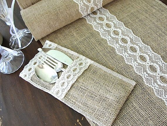 Rustic chic Burlap table runner wedding table by HotCocoaDesign