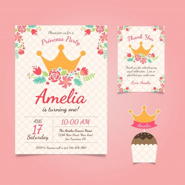 33 best birthday invitation free images on pinterest birthday princess birthday theme invitation and thank you card with cupcake topper free filmwisefo