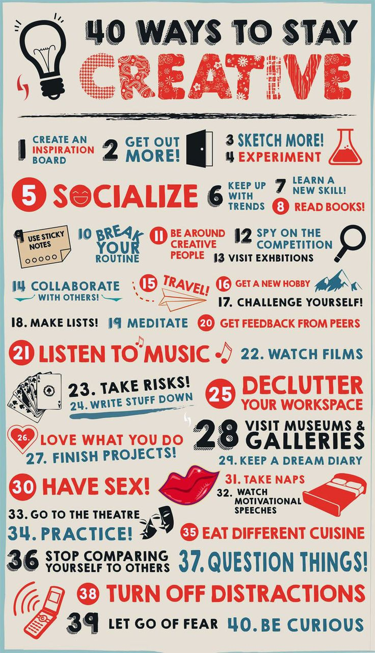 40 Ways to Stay #Creative.  #infographic #design
