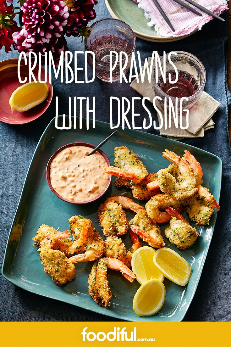 These fried, crispy, garlic-crumbed prawns make for fantastic party finger food. The thousand island dressing goes with the seafood starters perfectly. This recipe makes 20 dippers and takes 50 minutes.