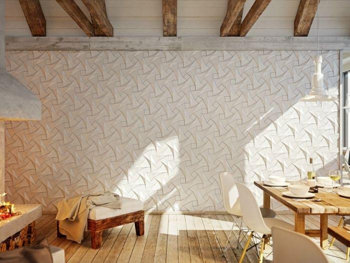 Gestaltungsidee Zimmerwande 3d Wandpaneele Faserzement Fliesen Quadilic Wandpaneele Geometrische Fliesen 3d Wandplatten