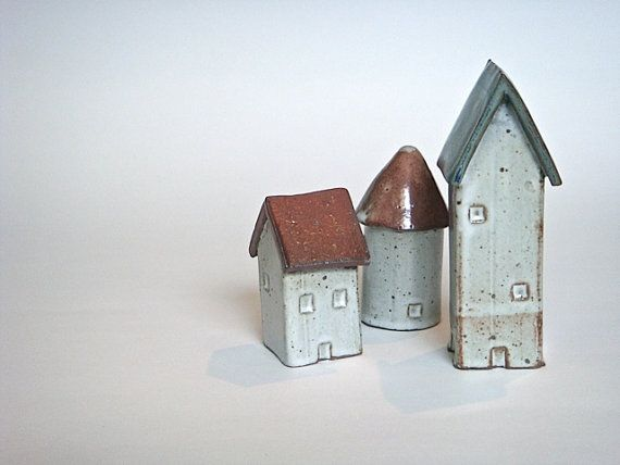 Little Ceramic Houses Group 6 by ClayTownCeramics on Etsy, $53.00
