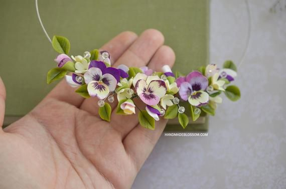Pansy Necklace Pansy Jewellery Purple Wedding Jewelry Flowers Jewelry Purple And Yellow Flowers Floral Necklace Polymer Clay Flower Jewelry Polymer Clay Flowers Pansies