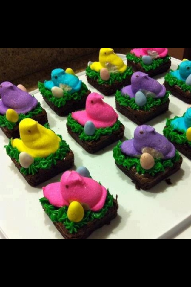 Cute little Easter treats I made with my Pampered chef brownie pan and decorating bottles :) contact me to get the products or schedule a show! Jaime 480-226-4926