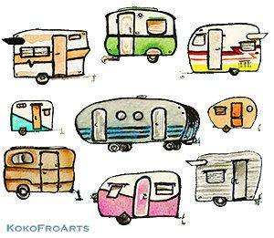 Travel Trailers Print By KokoFroArts On Etsy 750 Canned Ham Airstream Shasta
