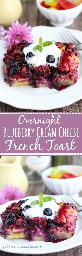 This Overnight French Toast has blueberries baked in with sweetened cream cheese. It gets topped off with homemade blueberry syrup for double the blueberry deliciousness!