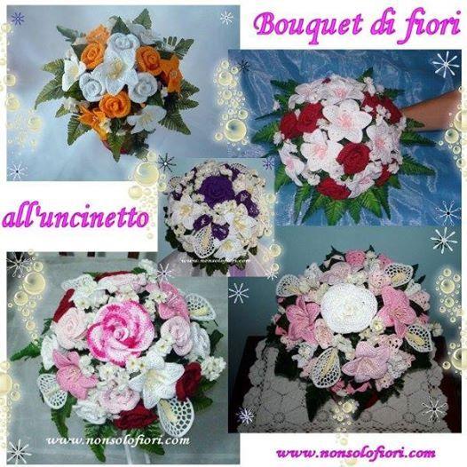 Bouquet sposa realizzati con fiori all'uncinetto - www.nonsolofiori.com