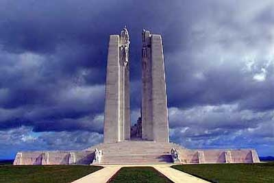 War Memorial at Vimy dedicated to the 3600 Canadians who gave their lives defending France against the Nazis.