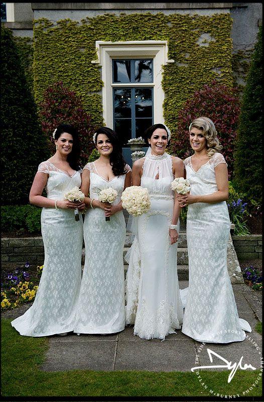 Lovely bridesmaids and bride at wedding at Ballymascanlon House