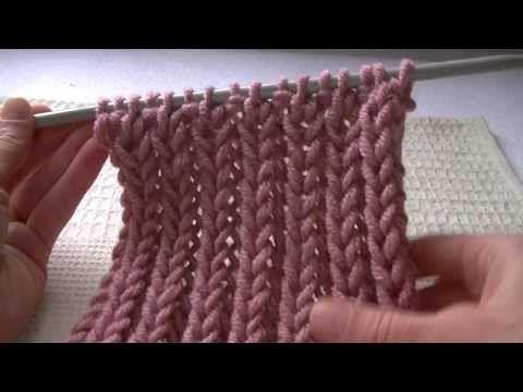 Французская резинка спицами, видео Плотная Французская резинка спицами, которая выполняется «косичками», видео урок. Zig Zag Rib Cast on a multiples of 3 sts...