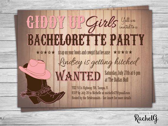 Cowgirl Bachelorette Party Invitation Digital by DesignbyRachelG