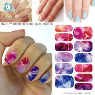 K5721B Water Transfer Folie Nagels Sticker Gekleurde Heldere Crystal Ontwerp Nail Sticker Manicure Decor Gereedschap Nail Wraps Decals