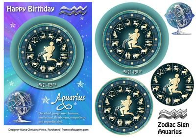 Zodiac Sign Aquarius Mystical on Craftsuprint designed by Maria Christina Vieira  - 5x7 Zodiac sign Birthday card front with Pyramage layers .If you cant find a suitable Birthday card...you cant go wrong with a Zodiac sign card! - Now available for download!