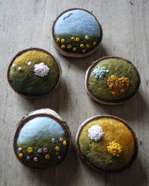 felted wool brooches: Lil Fish Studios
