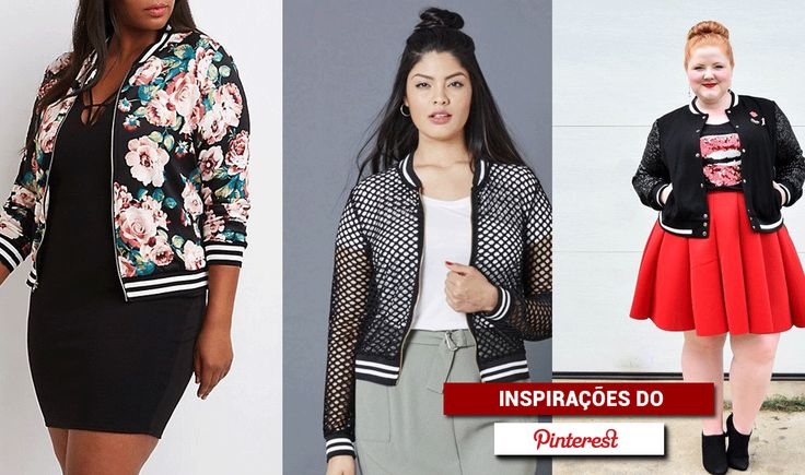 Jaqueta bomber plus size - looks