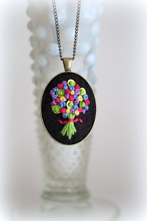 Hand Stitched Embroidery Embroidered Jewelry Neon by sewhappygirls, $25.00