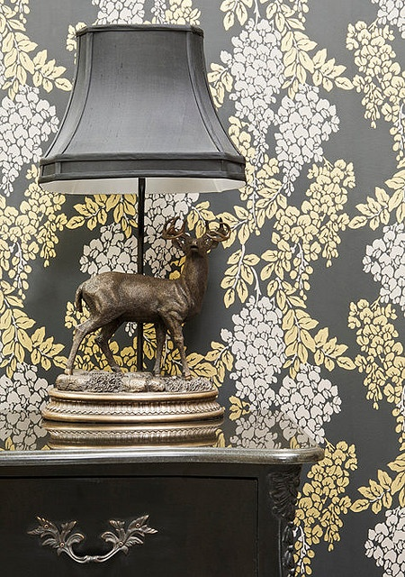 "farrow and ball wallpaper - love the ""camouflage"""