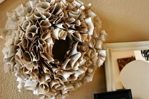 Book Page Wreath - Pretty sure my living room needs one of these :): Crafts Ideas, Paper Wreaths, Dollar Trees, Old Books Pages, Books Pages Wreaths, Book Pages, Fall Wreaths, Books Wreaths, Paper Crafts