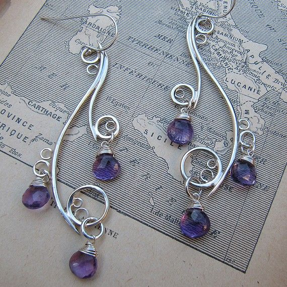 Greek Isle Earrings with Amethyst - <3 these! @LindaLee Tritton, if you make them (or something similar), I would TOTALLY buy them!