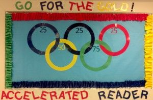 I think I would change the rings to 20, 40, 60, 80 and 100% of their goals... and then move their names as they went along! Accelerated Reader Ideas