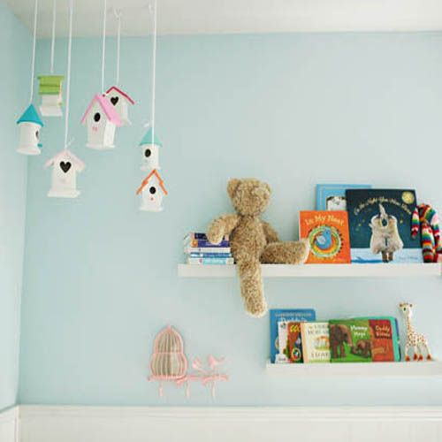 birdhouses, you can find them ready to finish for under 3 bucks each at michaels craft stores DIY baby mobiles x