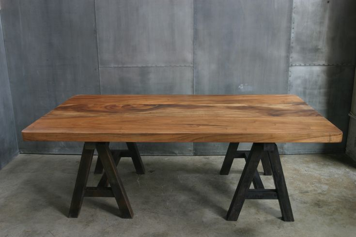 Photo 1 ag64 mesa caballetes hierro deco industrial - Caballetes de madera ...