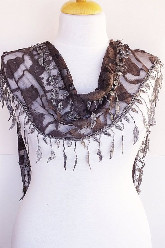 Gray Stylish Scarf With Fringed Lace by mediterraneanlights