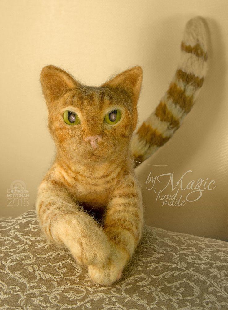 Custom needle felted cat sculpture, felt pet, custom cat, cat portrait, cat sculpture, cat toy, felted animal, custom pet, kitten - pinned by pin4etsy.com