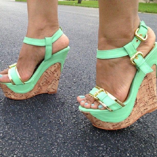Best 25  Mint wedges ideas on Pinterest | Mint heels, Mint high ...