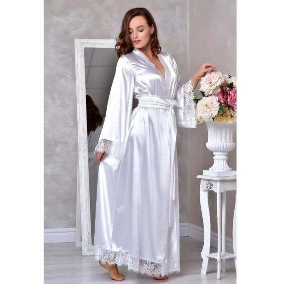 Damen Reiner Satin Bademantel Braut Hochzeit Brautjungfer Abendkleid Kimono Robe