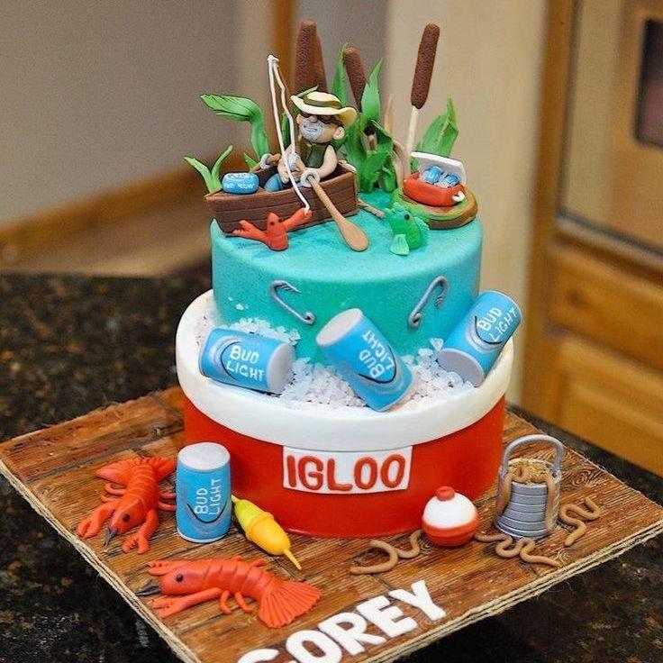 Fishing and beer birthday cake Www.facebook.com/cakesforfun.  #fondant #edible decorations #manscake #icechest #crawfish #fondantbeercans