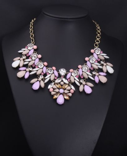 2014 Lady's Fashion Luxury Light Purple Floral Choker Statement Necklaces XL1529   eBay