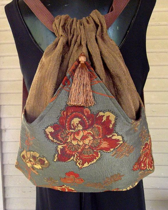Brown Backpack With Rust Flower Tapestry by piperscrossing on Etsy, $45.00