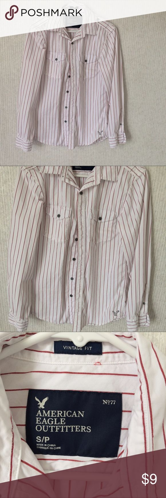 American eagle red/white striped button down shirt Stored in smoke free 🏡. Feel free to negotiate prices and bundle bundle bundle!!! American Eagle Outfitters Shirts Casual Button Down Shirts